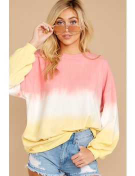 Lazy Tides Pink And Yellow Dip Dye Long Sleeve Tee by Tres Bien