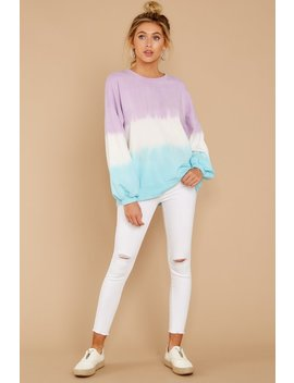Lazy Tides Lilac And Blue Dip Dye Long Sleeve Tee by Tres Bien