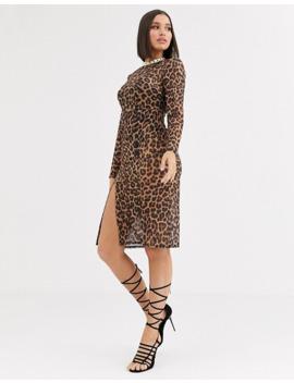 club-l-london-sheer-leopard-thigh-split-midi-dress-in-brown-leopard by club-l