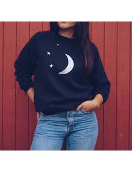 cosmic-moon-&-stars-sweatshirt,-applique-sweatshirt,-black-sweatshirt,-celestial by etsy