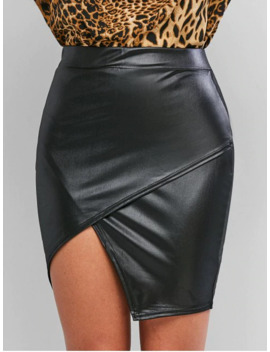 Hot Sale Faux Leather Tight Asymmetrical Skirt   Black M by Zaful