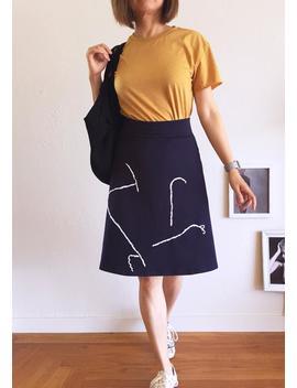 navy-blue-skirt,-a-line-skirt-women,-abstract-skirt,-high-waisted-skirt,-fall-fashion-for-women-work-attire,-fold-over-skirt,-midi-skirt by etsy