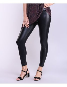 black-faux-leather-high-waist-crop-leggings---women by lbisse