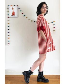 striped-pocket-tee-dress-with-layered-ruffle-sleeves--summer-dress-with-paper-airplane-print--red-_-white-striped-over-sized-cotton-tunic by etsy