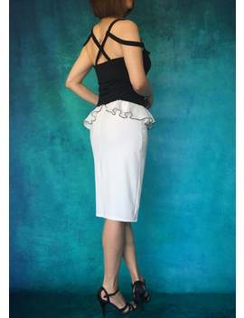 beige-white-and-black-contrast-tango-skirt,-ruffle-tango-skirt,-pencil-skirt,-tango-skirt-slit,-tango-clothing,-midi-pencil-skirt by etsy