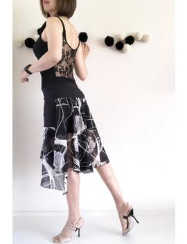 unique-tango-skirt--floral-print-skirt--elastic-waist-skirt--multiple-layer-skirt--high-waist-skirt-with-asymmetric-ruffle by etsy