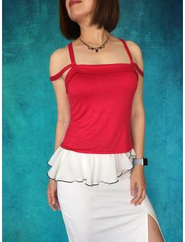 red-tango-top--strappy-solid-red-top--fitted-tango-clothing--strap-tank-top by etsy