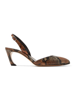 bastian-snake-effect-leather-slingback-pumps by acne-studios