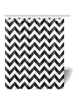 mypop-chevron-shower-curtain,-zig-zag-pattern-and-black-and-white-classical-antique-artwork-fabric-bathroom-shower-curtain-set-with-hooks,-60-by-72-inches-long by mypop