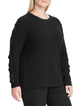 plus-lace-up-cotton-sweater by lauren-ralph-lauren