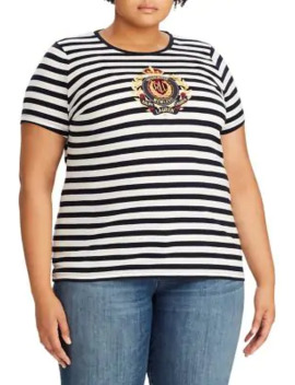 plus-striped-cotton-blend-tee by lauren-ralph-lauren