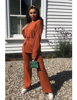 Laila Loves Rust Orange Wide Leg Co Ord Trouser by In The Style