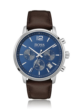 Stainless Steel Chronograph Watch With Matt Blue Dial by Boss