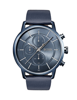Bauhaus Inspired Watch With Blue Leather Strap by Boss