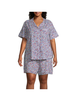 Liz Claiborne Womens Short Sleeve Shorts Pajama Set 2 Pc   Plus by Liz Claiborne