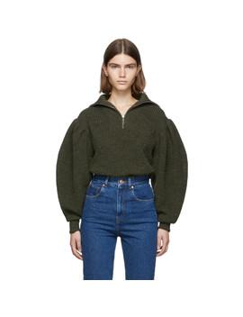 green-knit-kuma-half-zip-sweater by isabel-marant