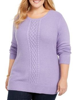 plus-relaxed-fit-cable-knit-cotton-blend-sweater by karen-scott