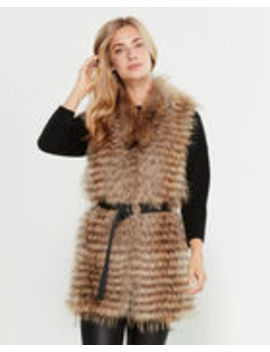 belted-real-fur-mixed-media-vest by intuition-paris