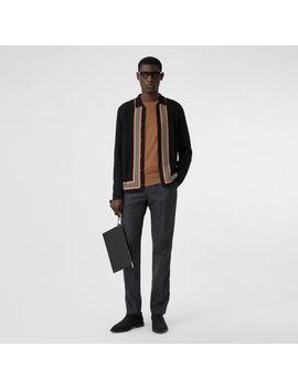 icon-stripe-trim-wool-cashmere-cardigan by burberry