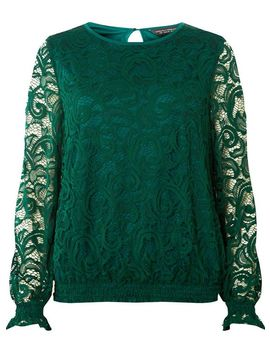 Green Sheered Hem Long Sleeve Top by Dorothy Perkins