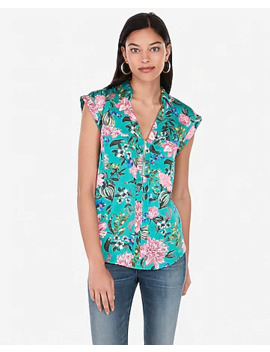 floral-satin-short-sleeve-zip-front-chelsea-popover by express