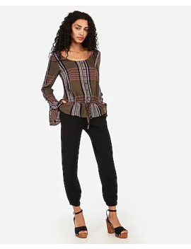 plaid-cinched-waist-peplum-top by express