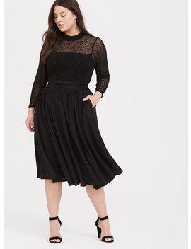 Black Mesh Flocked Star Mock Neck Midi Dress by Torrid