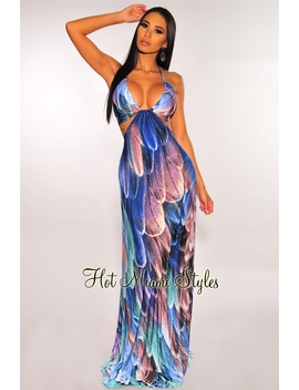 Amethyst Feather Print Cut Out Halter Maxi Dress by Hot Miami Style