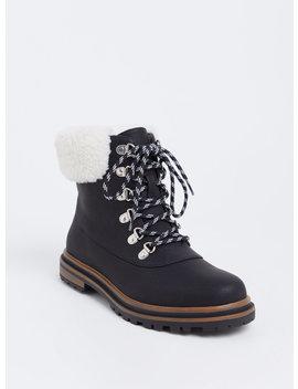 Black Faux Suede & Faux Fur Hiker Boot (Wide Width) by Torrid