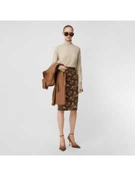Monogram Intarsia Wool Pencil Skirt by Burberry