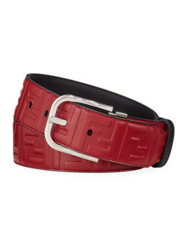 mens-logo-embossed-leather-belt by fendi