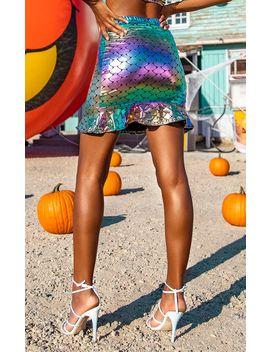 multi-metallic-mermaid-foil-printed-skirt by prettylittlething