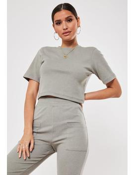 khaki-co-ord-ribbed-crop-t-shirt by missguided