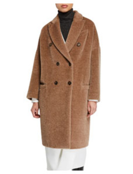 Alpaca Wool Double Breasted Melton Coat by Brunello Cucinelli