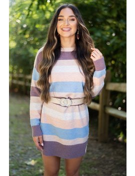 Lasting Love Mauve Multi Striped Dress by The Mint Julep Boutique