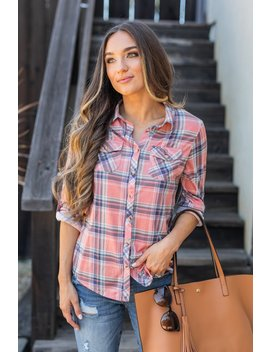 Save The Day Coral Plaid Button Down Top by The Mint Julep Boutique
