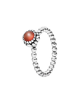 Pandora Silver & Carnelian July Birthday Blooms Ring by Pandora