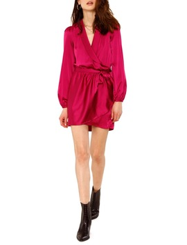 shona-long-sleeve-satin-wrap-minidress by heartloom