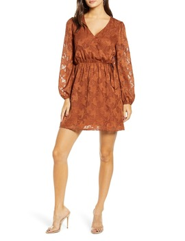 floral-jacquard-wrap-front-long-sleeve-minidress by all-in-favor