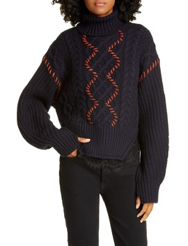 lace-trim-cable-knit-cotton-&-wool-sweater by self-portrait