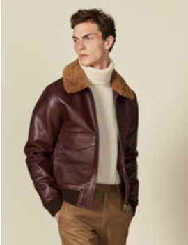 Leather Aviator Jacket With Sheepskin by Sandro Eshop