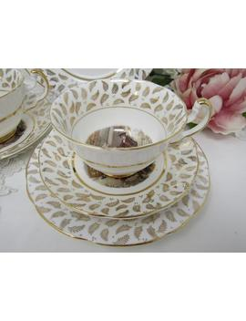 """gold-chintz-tea-cup-trio,-""""cries-of-london"""",-imperial-fine-bone-china,-cup-saucer-plate,-vintage-tea-set by etsy"""