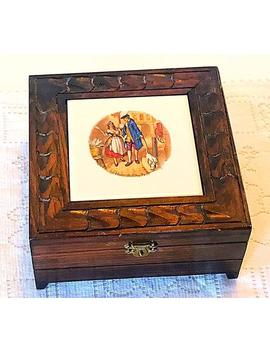 """antique-""""cries-of-london,-who-will-buy-my-lavender""""-hand-painted-tile-and-wood-cigarette-box,-jewelry-box,-trinket-box by etsy"""