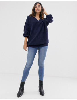 yas-oversized-v-neck-knitted-jumper by yas