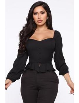 in-my-fantasy-peplum-top---black by fashion-nova