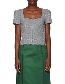 Gingham Eyelet Voile Bustier Top by Barneys New York