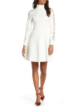 mock-neck-fit-&-flare-long-sleeve-sweater-dress by eliza-j