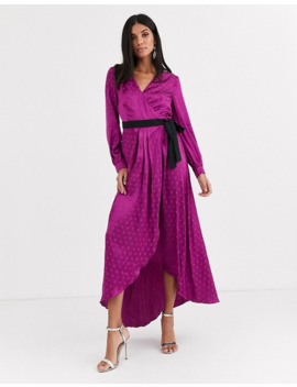 little-mistress-tall-satin-wrap-dress-with-contrast-waistband-in-mulberry by little-mistress