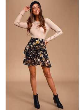 curator-black-multi-print-ruffled-mini-skirt by lulus