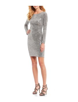 long-sleeve-ruched-side-metallic-knit-sheath-dress by vince-camuto